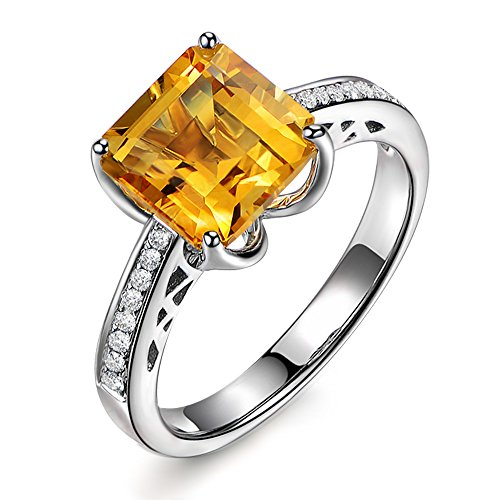 Yellow Natural Citrine Gemstone and Diamond Engagement Ring Wedding Set 14K White Gold (0.11ct) for Women