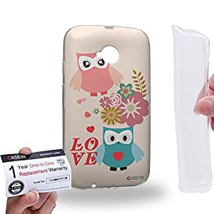 Case88 [Motorola Moto E (2nd Gen.)] Gel TPU Carcasa/Funda & Tarjeta de garantía - Art Two Love Owl Flower Kawaii Owl Art1312