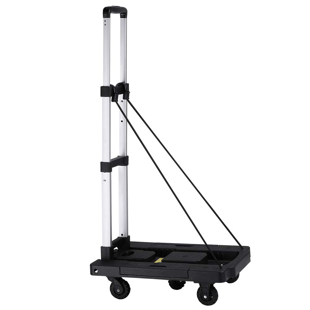 KEDSUM Folding Hand Truck with 5-Wheel, 220 lbs Heavy Duty Solid Construction Utility Cart, Portable Fold Up Dolly, Compact & Lightweight for Luggage, Personal, Travel, Moving and Office Use