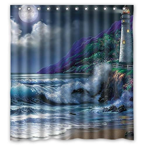 Lighthouse-Flashes-Shimmer-Waterproof-Polyester-Fabric-Bathroom-Shower-Curtain-66-x-72