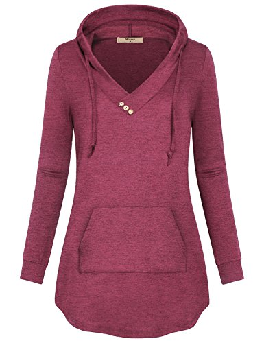 Miusey Womens Hoodie Tunic,Misses Shirts with Hood Long Sleeves V Neck Athletic Top with Front Pocket Embellished Button Trendy Fashion Comfy Breathable Soft Baggy Blouse Fuchsia XL ()