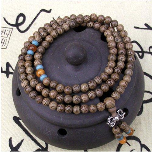 UDTEE New/Fashion Coffee Color Wenge Wood Tibet Buddhist Buddha Meditation 108 Prayer Bead Mala Bracelet/Necklace