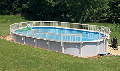 24-Inch Taupe Premium Vinyl Works Resin Above-Ground Pool Fence Kit B - 3 Sections