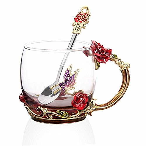 ups, Glass Coffee Cups Tea Mugs 2018 Handmade Butterfly Rose,12 oz (Rose) Ideal for Friend Wedding Anniversary Birthday Presents ()
