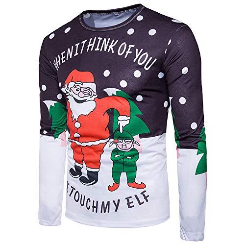 Mens Novelty Christmas Sweater 3D Print T Shirt Men's Long-Sleeved T-Shirt Blouse Ugly Holiday Crewneck -