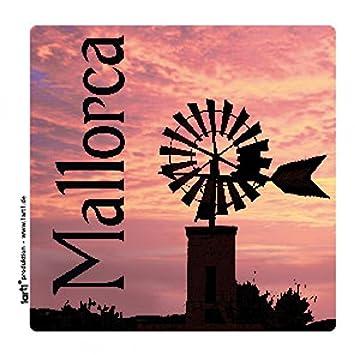 Vinilos Decorativos Mallorca.1art1 Mallorca Molino De Viento En Rojo Atardecer Vinilo