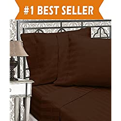 Elegant Comfort Best, Softest, Coziest 6-Piece Sheet Sets! - 1500 Thread Count Egyptian Quality Luxurious Wrinkle Resistant 6-Piece DAMASK STRIPE Bed Sheet Set, Queen Chocolate Brown