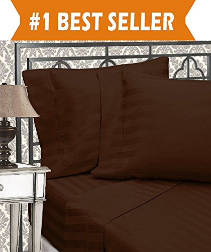 Brown Damask Stripe - Elegant Comfort Best, Softest, Coziest 6-Piece Sheet Sets! - 1500 Thread Count Egyptian Quality Luxurious Wrinkle Resistant 6-Piece Damask Stripe Bed Sheet Set, Queen Chocolate Brown