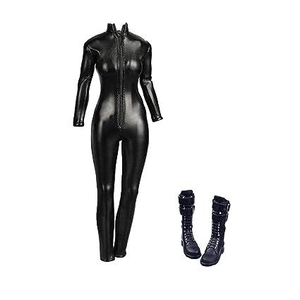 Amazon.com: Mono de piel sintética a escala 1/6, botas ...