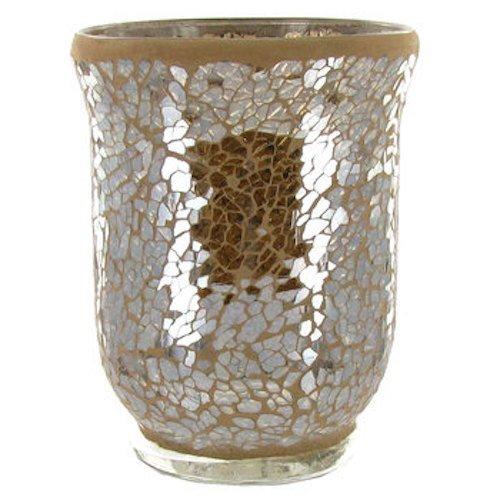Champagne Beige Mosaic Glass Hurricane Candle Holder