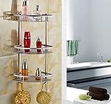 Bathroom Shelf,Triangular Durable Aluminum 3 tiers Wall Shower Caddy Shelf Kitchen&Bathroom Corner Bath Rack Storage Holder Organizer