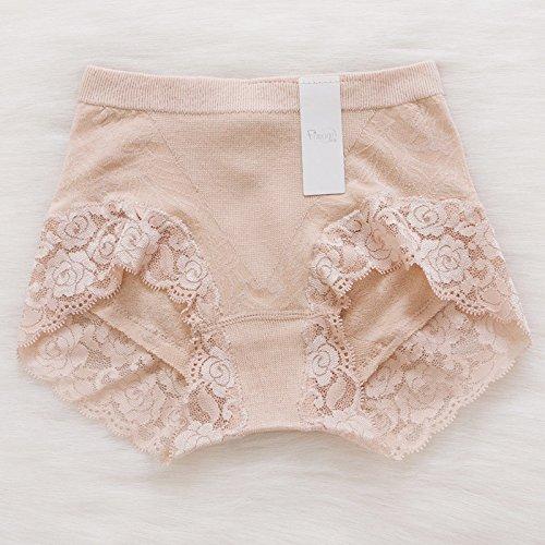 Calzoncillos ropa interior de fibra de bambú señoras Lace Pocket Cintura Cadera Briefs,negro,M Greatlpk Skin colour