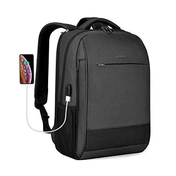 """Laptop Backpack 15.6/"""" Macbook Anti-Theft Padded Water Resistant USB Port Grey"""