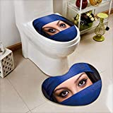 Analisahome Heart shaped foot pad 2 Pieces Set Muslim woman with headscarf in fashion concept in Bathroom toilet Mats