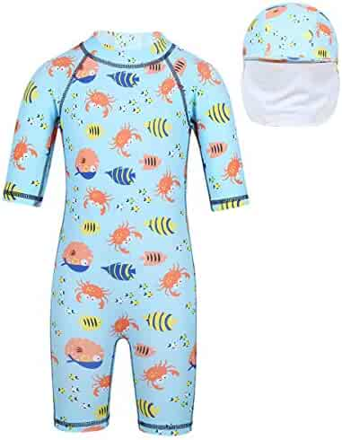 b93c62c3d2297 iEFiEL Kids Baby Boys Girl Swimsuit One Piece Toddlers Bathing Suit Swimwear  with Hat Rash Guard