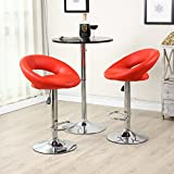 Set of (2) Bar Stools Leather Modern Hydraulic Swivel Dinning Chair Pub Pairs Stool! Red #273