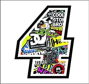 Adhesivo NUMERO 4 CARRERA RAZA 12 cm - STICKER BOMB - gara cross coche motocicleta pista sticker