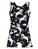 Pretty In Gymnastics Leotards for Toddler Girls 2t 3t 4t Kids Sparkly Unicorn Unitards With Shorts Cute Unique Bodysuit Black