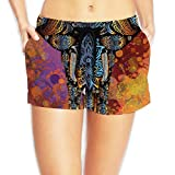 COOA Quick-Dry Casual Shorts Chromatic Floral Pattern Elephant Women Swim Trunks Board Shorts S