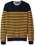 Nautica Men's Long Sleeve Classic Bretton Stripe Sweater, Yellow/Gold, XX-Large