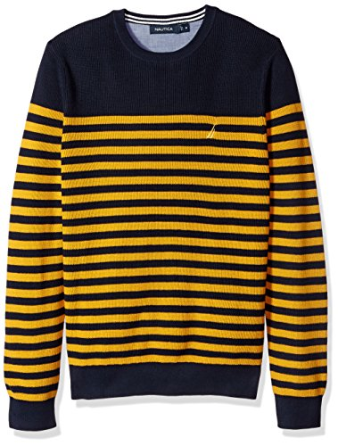 Yellow Stripe Sweater - Nautica Men's Long Sleeve Classic Bretton Stripe Sweater, Yellow/Gold, X-Large