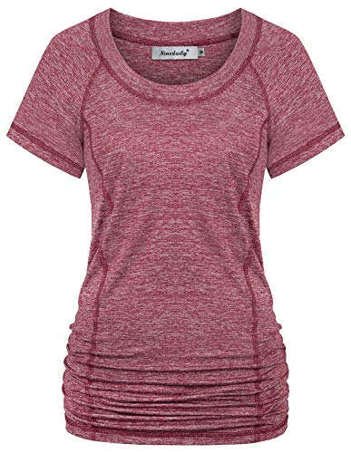 Ninedaily Womens Workout Top Running Yoga Shirt Summer Short Sleeve Casual Tunic,Wine,Size XL