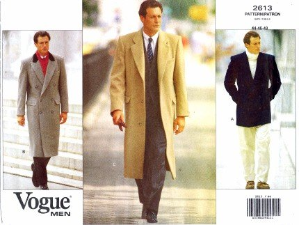 Vogue 2613 Sewing Pattern Mens Coat Chest 44 - 46 - 48: Amazon.co.uk ...