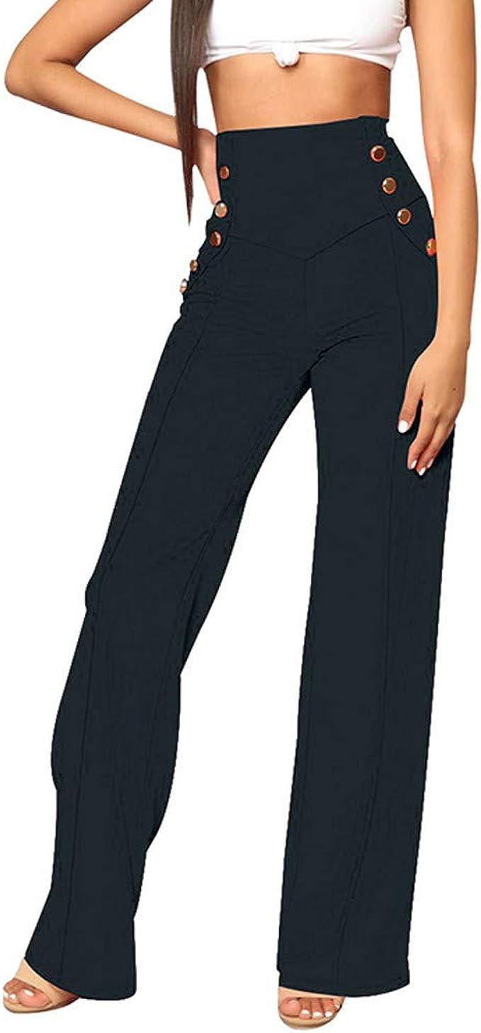 Womens Plus Size Flare Wide Leg Elastic Waist Floral Print Loose Pants Trousers