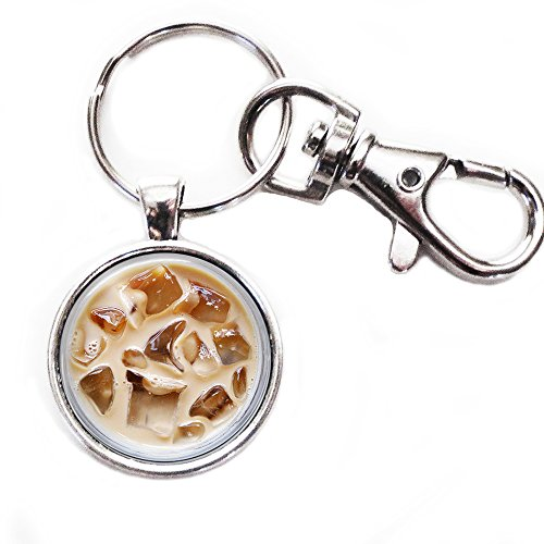 Iced Coffee - Greyish Keychain with Glass Image, Large Lobster Claw