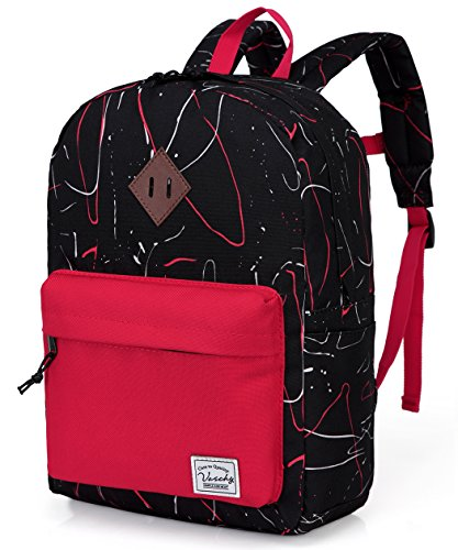Preschool Toddler Backpack,Vaschy Little Kid Small Backpacks for Kindergarten Children Boys and Girls with Chest Strap in Black Red