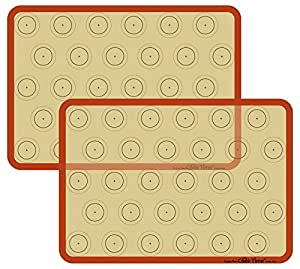 (2PK half sheet macaron) - Silicone Baking Mat Cookie Sheet Set (2) Non-stick Cooking Mat Liner for Macaron Cake Bread Making Microwave Toaster Oven Tray Pan,42cm x 30cm