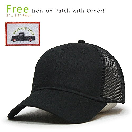 Structured Cotton Twill Baseball Cap (Vintage Year Classic Cotton Twill Low Profile Mesh Snapback Baseball Cap (Black))