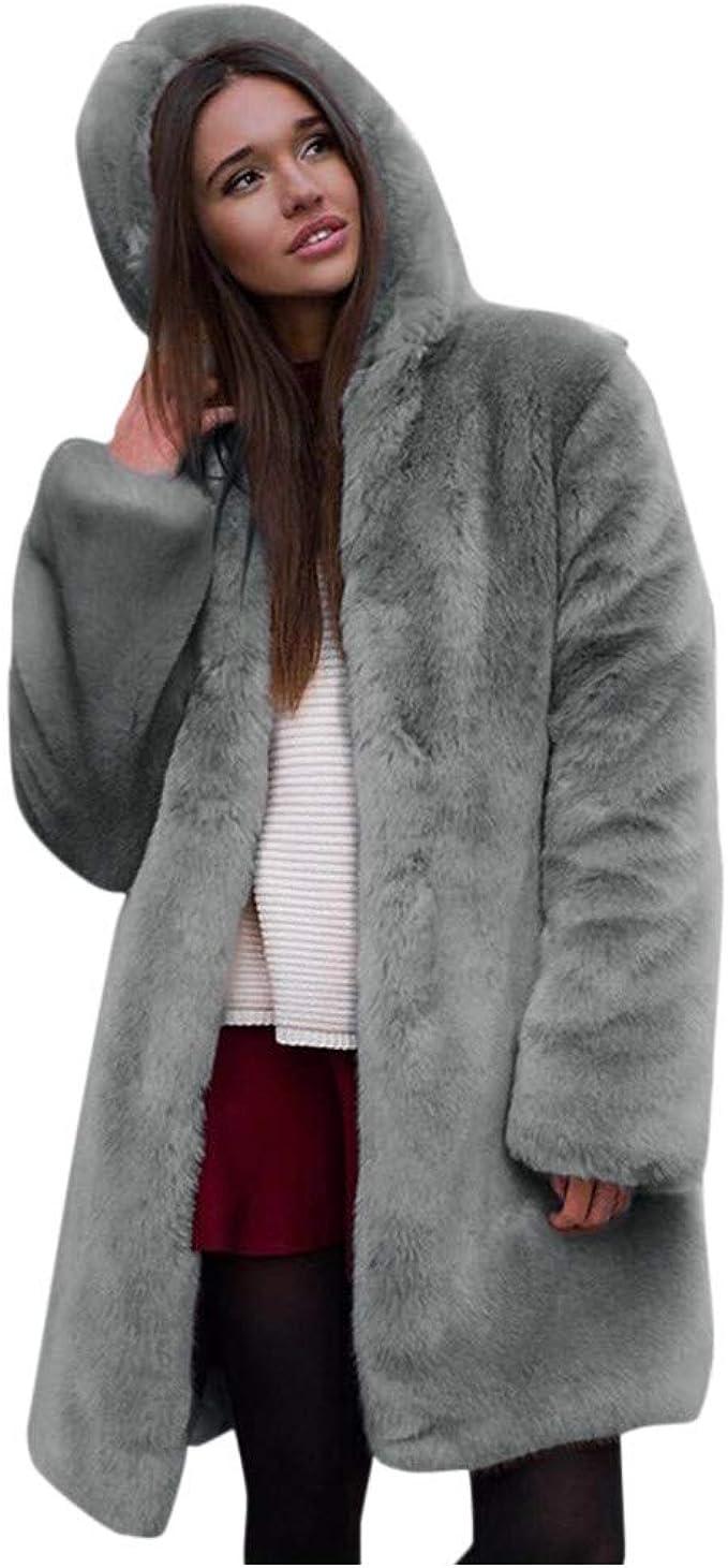 Aeuson Damen Mantel dicken Plüsch Winter Top, hochwertige Fleece Pullover lose Mode Langarm Kapuze großen warmen Mantel, Elegante warme