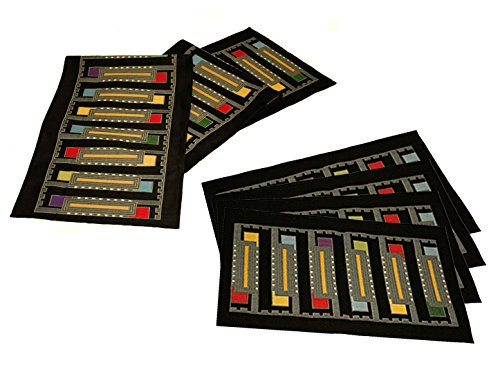 Frank Lloyd Wright Usonian Block Table Runner & 4 Placemats Set - Black by Frank Lloyd Wright
