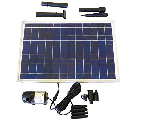 Solar Water Pump Kit 400+GPH with 12V Brushless Submersible Water Pump and 20 Watt Solar Panel for DIY Solar Powered Pond, Fountain, Water Feature, Hydroponics, Aquarium, Aquaculture (Submersible Fountain Pump Kit)