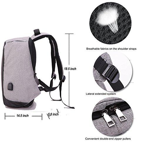 youpeck 14~ 39,6cm Universal Diebstahlschutz Laptop Rucksack mit USB-Lade-Port, verdeckte Reißverschlüsse und Größeres Volumen Kapazität, Casual Leicht Wasserdicht für Schule/Reisen grau dunkelgrau hellgrau