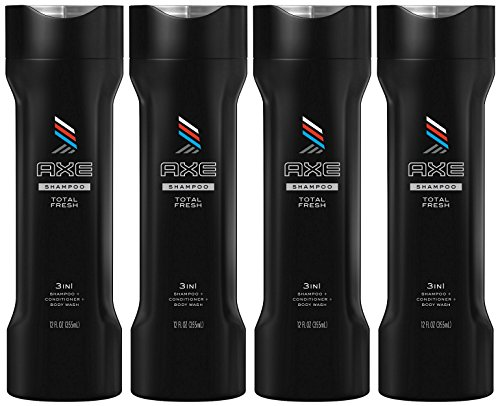 Axe Total Fresh 3-in-1 Shampoo + Conditioner + Bodywash, 12 Ounce (Pack of 4)