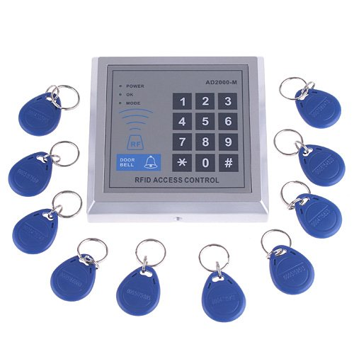 Style Access Control Keypad (KKmoon RFID Proximity Door Entry Access Control System + 10 Key Fobs (Style 1))