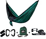 Package Includes:   2 x High Quality Aluminum wiregate carabiners. Rated to hold 2400lbs each (10.67 kN).   2 x Extra Strong Nautical Grade Double Braided Ropes (6.75 feet long each).   1 x Double Size Camping Hammock 210T Nylon Silk Soft Parachut...