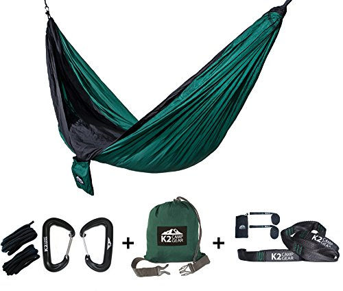 K2 Camp Gear - Original Double Camping Hammock - Premium Aluminum Carabiners, Hanging Ropes, and Heavy Duty Triple Stitched Tree Saver Straps Included (Green/Black) (Aluminum Triple Tree)