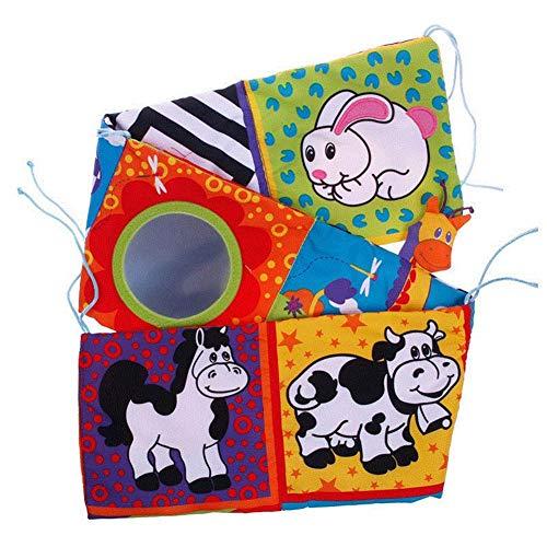 Lijuan Qin Baby Crib Cloth Book Animal Puzzle Toys Elephant/Lion/Giraffe/Monkey, Newborn Rattle Crib Bed Gallery Bumper Pad for Kids Infants Education Development
