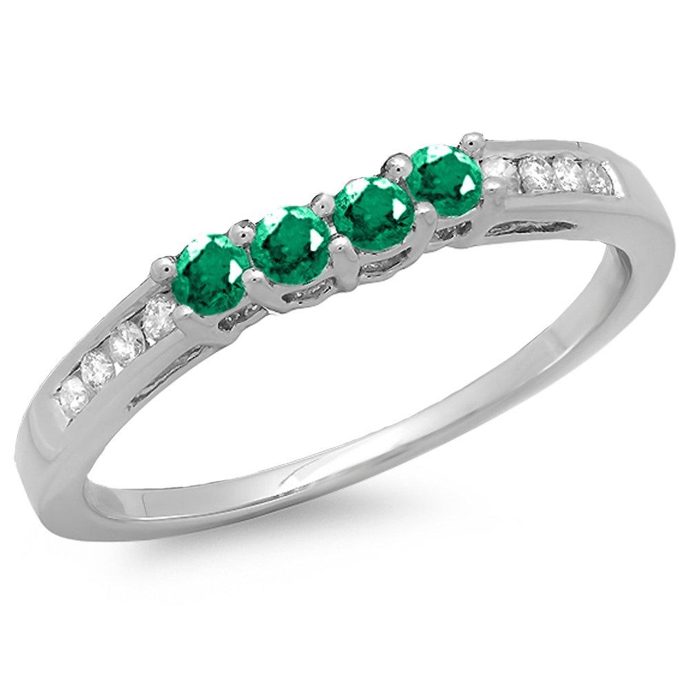 14K White Gold Round Emerald & Diamond Ladies Bridal Anniversary Wedding Band Ring (Size 7)