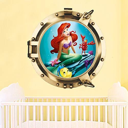 Wall Art Decor Mermaid Removale 3D Wall Stickers Mermaid for Kids Girls Living Room Bedroom Nursery