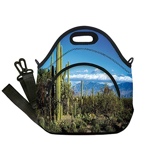 Insulated Lunch Bag,Neoprene Lunch Tote Bags,Desert,Wide View of the Tucson Countryside with Cacti Rural Wild Landscape Arizona Phoenix,Green Blue,for Adults and children