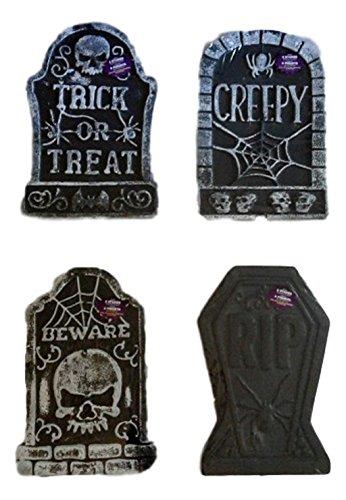 Tombstones Halloween Graveyard Polyfoam Decoration Set of 4 - 10 1/4