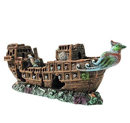 SLOME Aquarium Pirate Ship Decorations Fish Tank Ornaments - Resin Material Shipwreck Decorations, Eco-Friendly for Freshwater Saltwater Aquarium Sunken Ship -