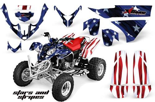 (AMRRACING Polaris Predator 500 2003-2007 Full Custom ATV Graphics Decal Kit - Stars and Stripes)