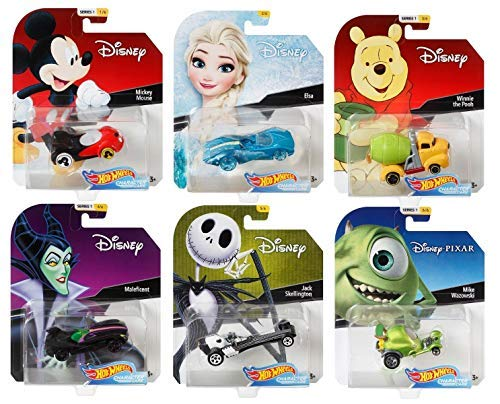 Disney Cars 1 - 2018 Hot Wheels Set of 6 Disney 1/64 Character Cars Collectible Die Cast Toy Cars, with Michey Mouse, Elsa, Winnie The Pooh, Maleficent, Jack Skellington, Mike Wazowski.