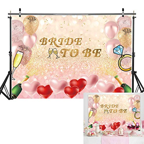 Haboke 7x5ft Soft Fabric/Durable Rose Gold Bokeh Bride to Be Theme Backdrop with Champagne and Balloons for Bachelorette Party Supplies Bridal Shower Wedding Decorations