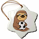 3dRose Silly Funny Sloth Playing Soccer Cartoon Snowflake Ornament, 3''